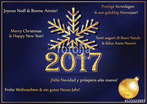 Merry Christmas and Happy New Year' in French, English, Dutch, Italian ...