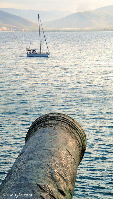 """Yacht entering the port of #Nafplio. View from the """"Five Brothers"""" Bastion of #Akronafplia Castle. #Argolida - #Greece"""