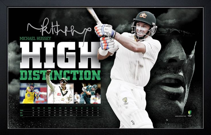 To celebrate the outstanding career of cricket legend, Michael Hussey, this premium sportsprint features the facsimile signature of Hussey himself. Limited to only 1000 units worldwide to ensure its rarity, it summarises Michael Hussey's extraordinary international career in which he displayed unsurpassed class and determination. Each officially licensed sportsprint will be sure to hold pride of place on any cricket fans wall. Accompanied by CoA Approx framed dimensions 950 x 700mm
