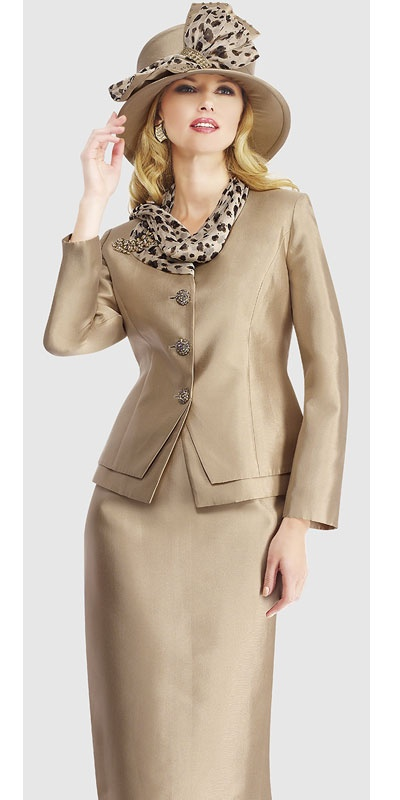 $298.90 Womens Sand or Choco Chip Silk 2pc Formal Skirt Suit By Moshita Luxe 8 to 24