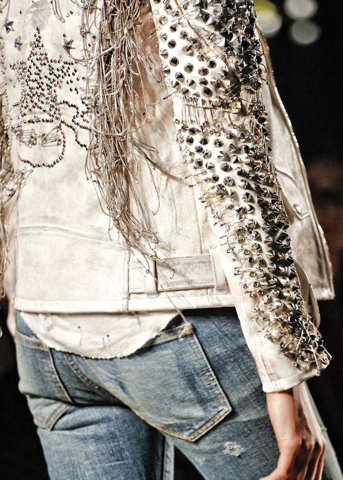 studs & safety pins. Balmain - vintage white and denim...all time favourite
