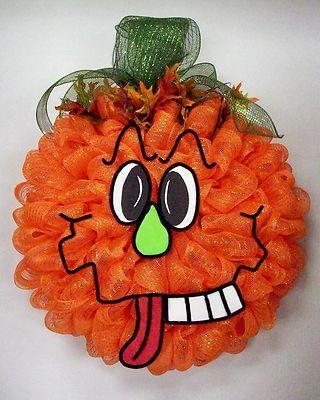 fall/halloween  pumpkin deco mesh wreath