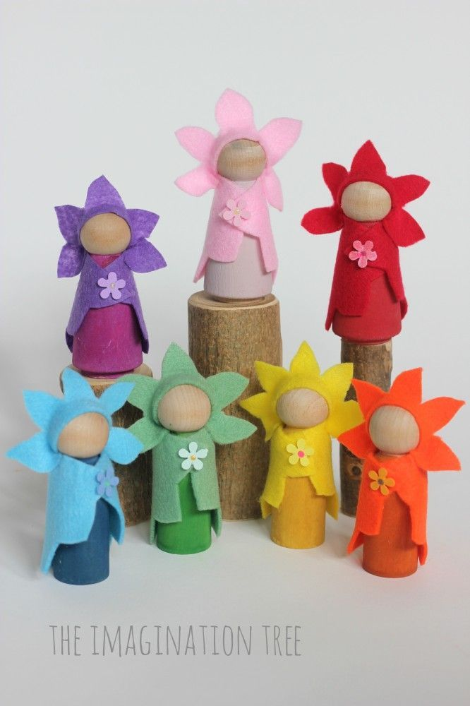 The Imagination Tree shows us how to make no-sew flower fairy wooden peg dolls using simple materials, for creative play times & imaginative storytelling