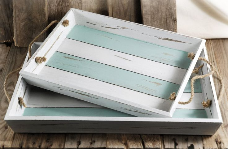 Set of two distressed finish crate style serving trays, beach decor, nautical decor by UrbanAccentHome on Etsy https://www.etsy.com/listing/210253916/set-of-two-distressed-finish-crate-style
