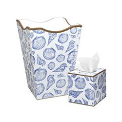 Blue Shell Wastebasket and Tissue Box Holder