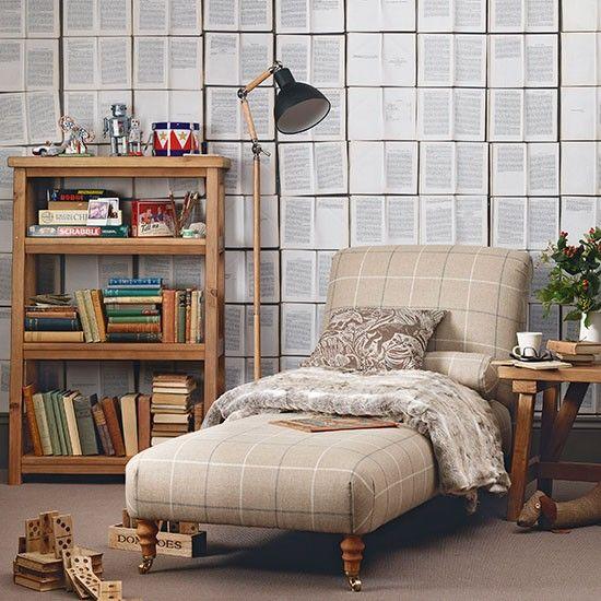 Plaid And Oak Wood Living Room