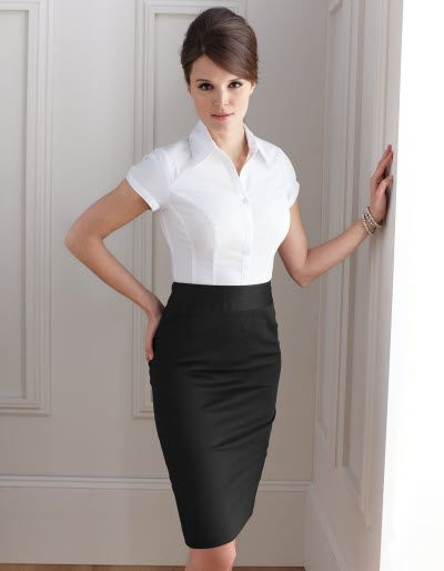 Straight Pencil Skirt + crisp white button-down = sexy, elegant, professional, classic and all around necessary