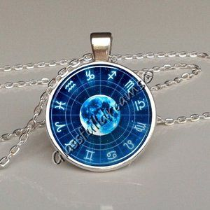 Zodiac circle Necklace Zodiac circle jewelry Zodiac Sign Pendant Constellation Jewelry Art unisex gift Zodiac pendant Universe pendant necklace Outer space Handmade jewelry made in UK Glassfulldreams