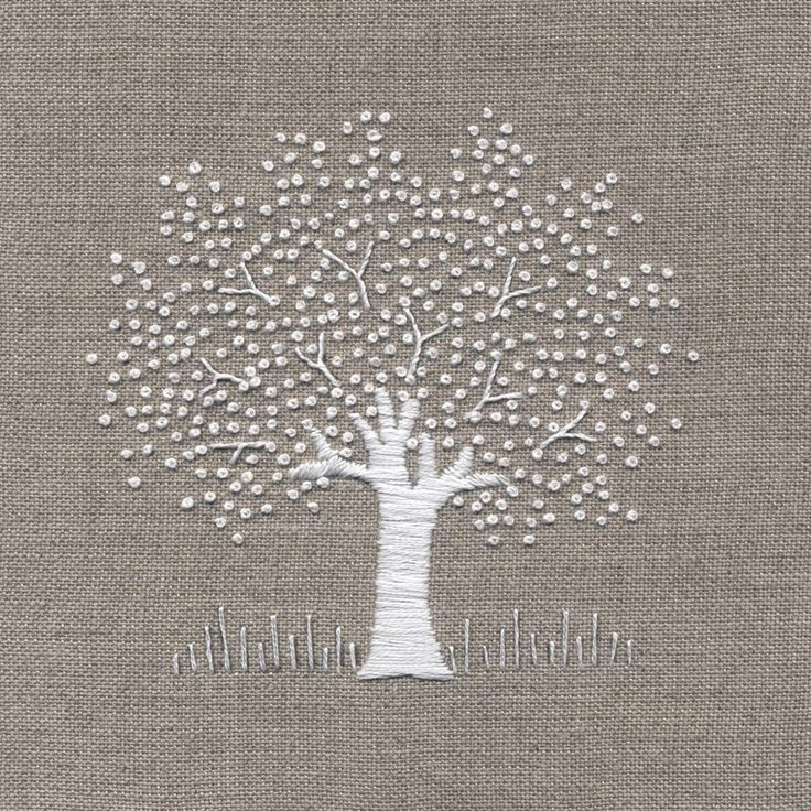 Jo Butcher, Embroidery Artist - White Tree on Linen Kit