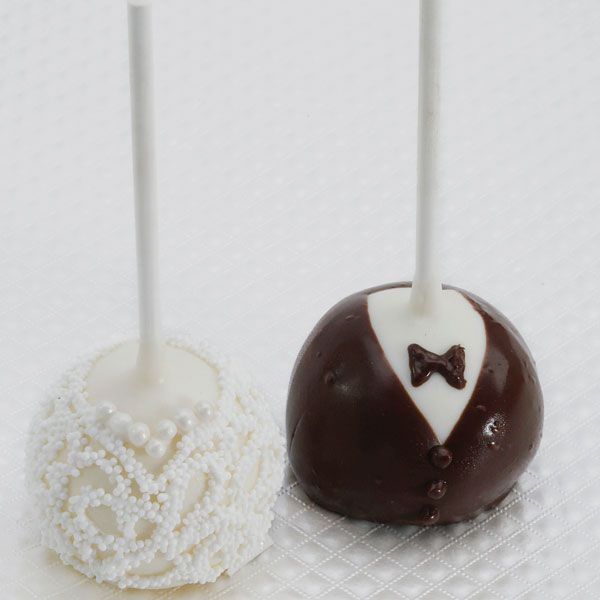 Bride and groomcake pops