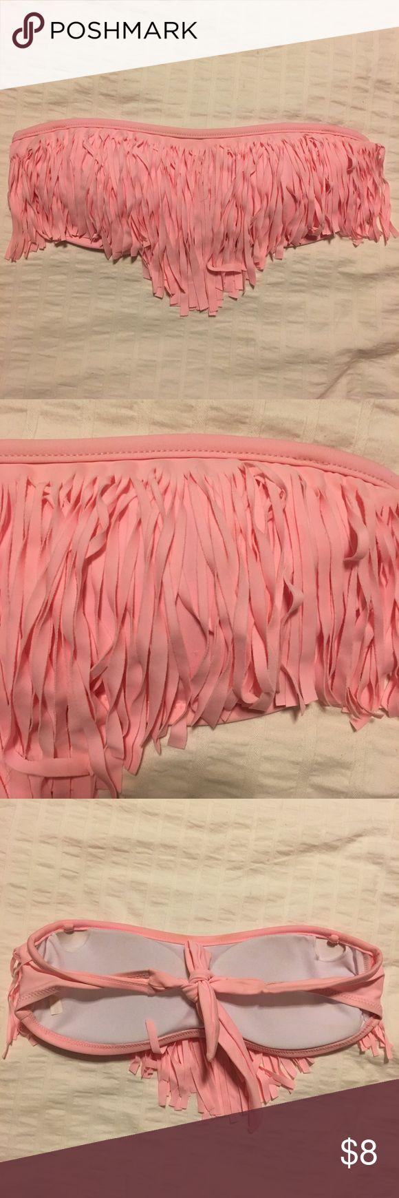 Pink Fringe bathing suit top Fringe pink swim top! Swim Bikinis