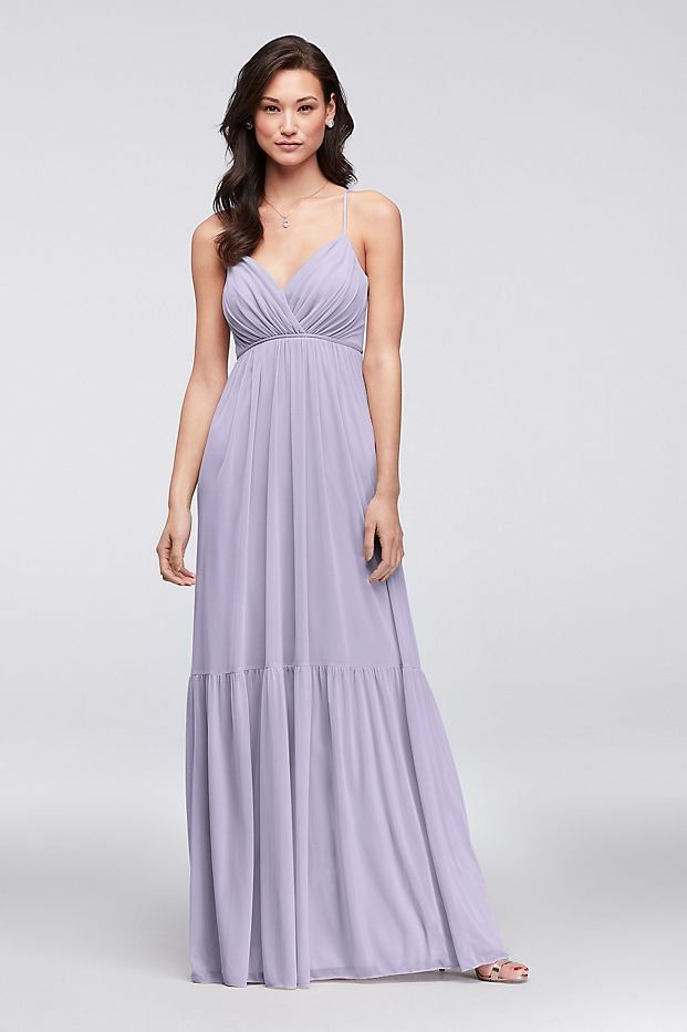 4ea9d039a1 Surplice Mesh Bridesmaid Dress with Peasant Skirt