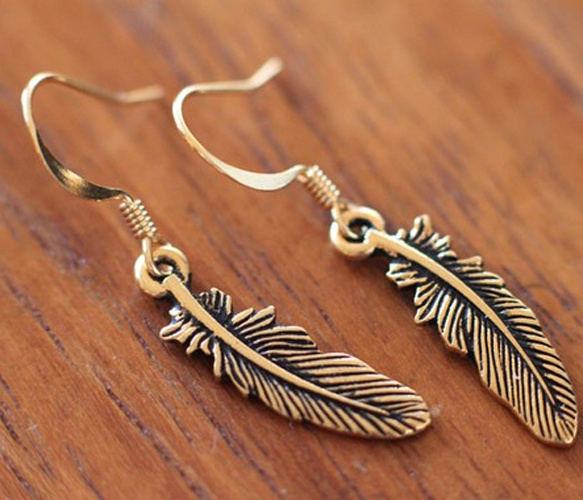 Tiny Gold Feather Earrings