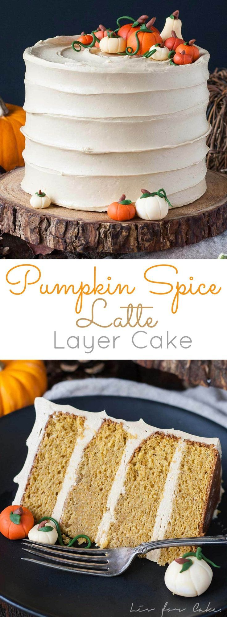 This Pumpkin Spice Latte Cake is your favorite Fall beverage in cake form! Pumpkin spice flavoured cake with an espresso buttercream. | http://livforcake.com                                                                                                                                                                                 More