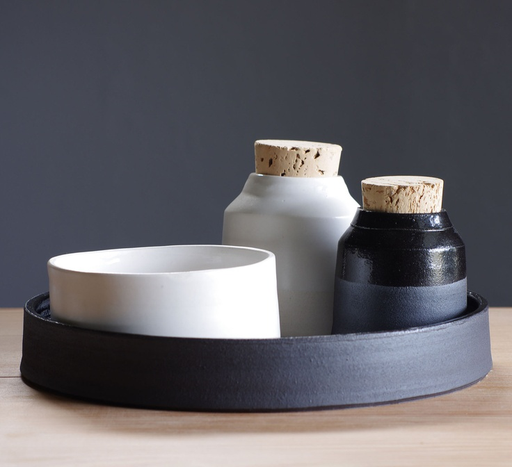 black and white kitchen tray set. - i've been looking for a salt & pepper cellar and i think these may have to be it.
