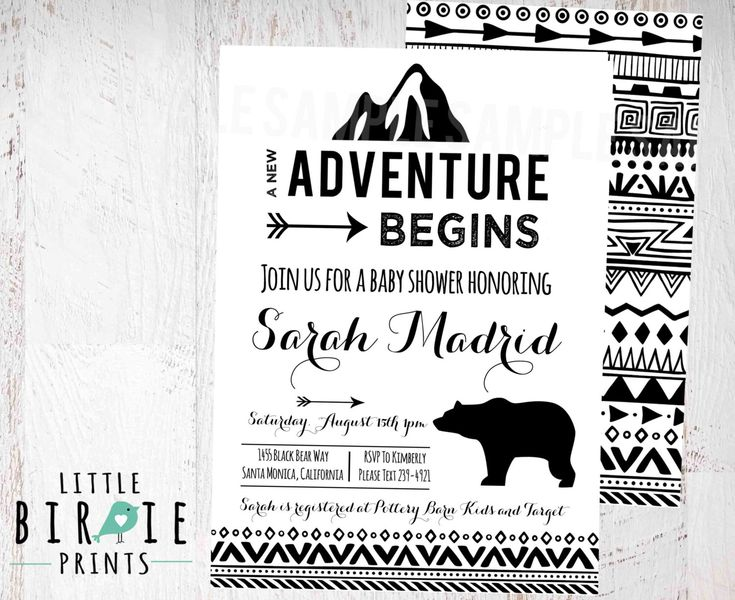 ADVENTURE Baby Shower invitation - Tribal Arrow Baby Shower Invitation - Geometric Baby Shower Invitation - Mountains Bear Black and White by littlebirdieprints on Etsy https://www.etsy.com/listing/281399586/adventure-baby-shower-invitation-tribal