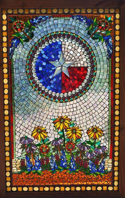 Kathleen Dalrymple - Fredericksburg TX Glass Artist: Glorious Texas - Glass on Glass Mosaic Window