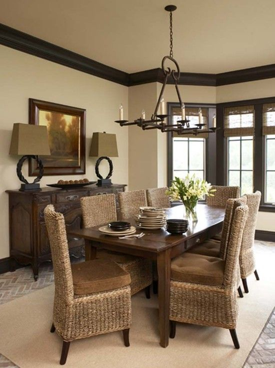 Dark trim design pictures remodel decor and ideas for Beige dining room ideas