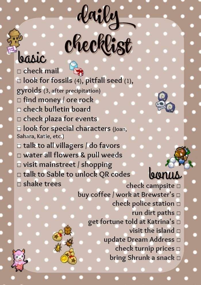 » Mayor Crick's Checklist | Animal Crossing Amino