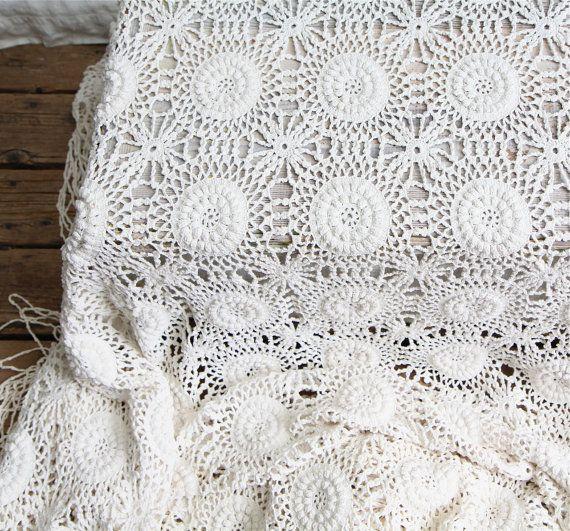 Vintage Crochet Lace Bedspread