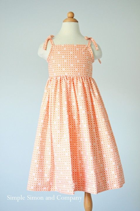 A free sundress pattern. In Orange. - Simple Simon and Company