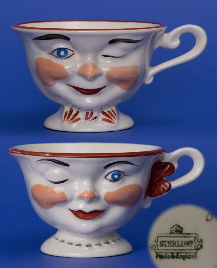 Sterling Pottery -- Winking Face Teacups.  Him & Her Pair.  Made in England, dated approx. 1950.  Garage Sale Find $5. (for the pair).