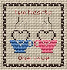 Two Hearts One Love free cross stitch pattern