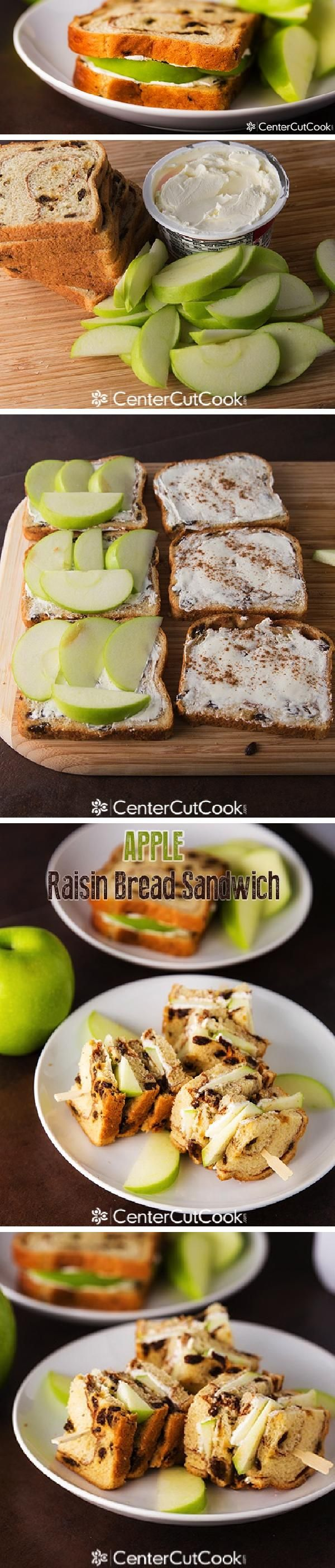 Thinly sliced APPLES get SANDWICHED between RAISIN BREAD and cream cheese to create an Apple Raisin Bread Sandwich that everyone will love!