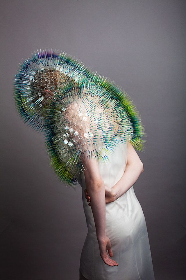 """The artist Maiko Takeda did the series """"Atmospheric Reentry"""" in which he made very conceptual kind of bags and hats which have a bristled shape."""