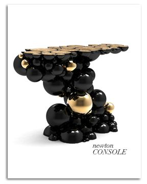 http://www.bocadolobo.com/en/press/press-release/view-all-press-releases/ new console in aluminum with gold plated spheres and semi-spheres. Graceful style and functional choices to meet the real need of the contemporary bourgeoisie, who use the home informally, relaxing or entertaining friends in a space to be lived in freely.