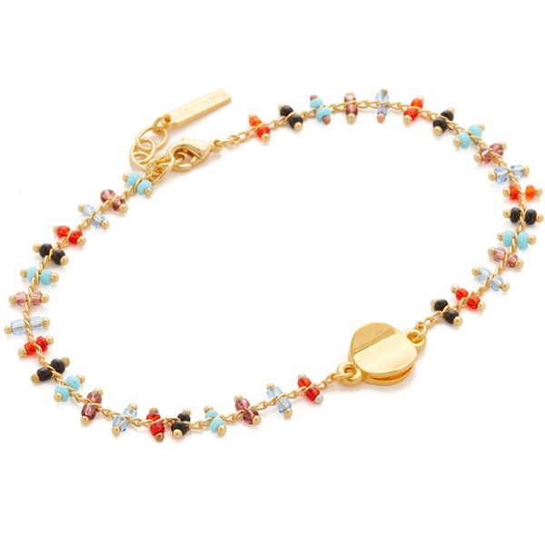 Elizabeth and James Jessie Anklet ($66) ❤ liked on Polyvore featuring jewelry, gold, anklet jewelry, elizabeth and james jewelry, multi colored jewelry, multicolor jewelry and elizabeth and james