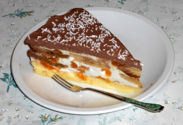 Tvarohovo-mandarínková tortička s piškótami