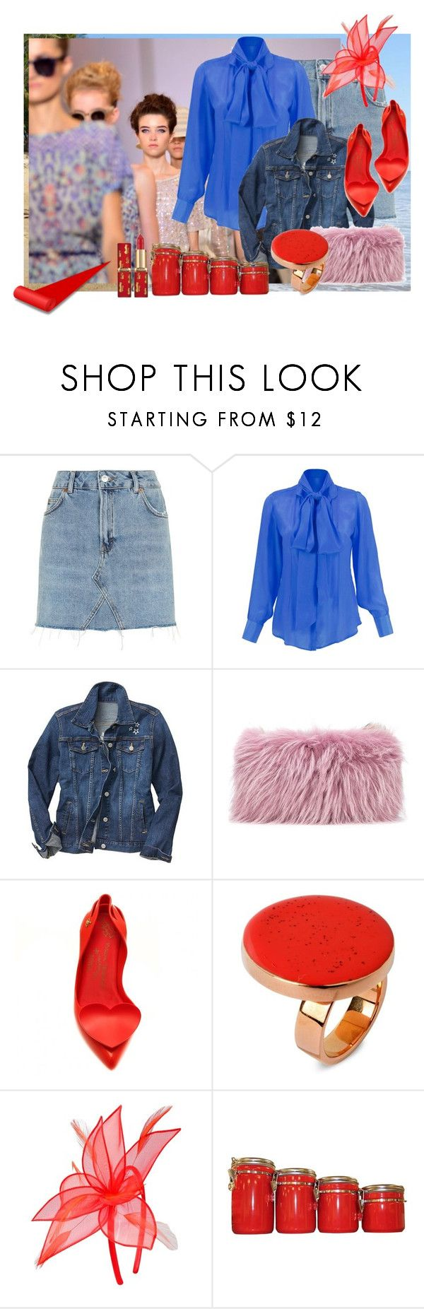 """""""red detail neutral clutch and blue outfit"""" by betsabe13 ❤ liked on Polyvore featuring Topshop, Gap, Mr & Mrs Italy, STELLA McCARTNEY, M&Co and Anchor Hocking"""