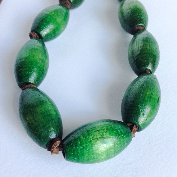 Green Wooden bead leather Necklace  Recycled  by myclectic on Etsy