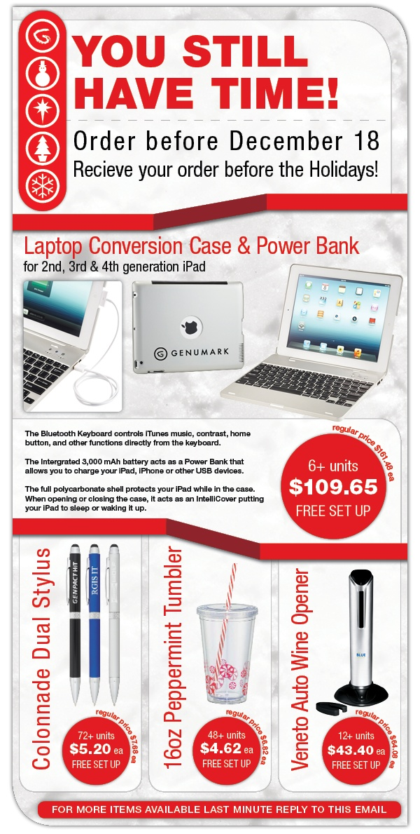 Last Minute Holiday Promo Products