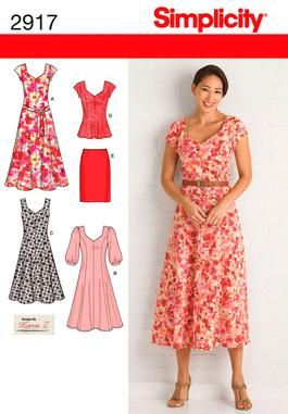 Misses or Plus Size Dresses sewing pattern 2917 Simplicity