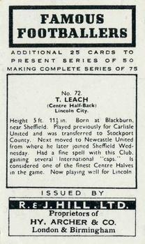 1939 R & J Hill Famous Footballers Series 2 #72 Tony Leach Back