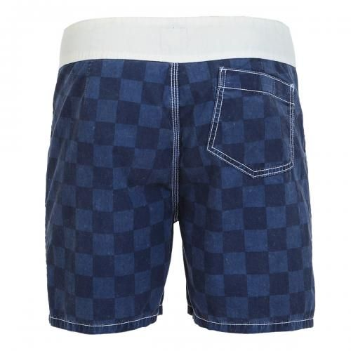CHECK PRINT BOARDSHORTS Check print Boardshorts with contrasting waist, fixed waist with snaps and Velcro fly, a Velcro back pocket. COMPOSITION: 100% COTTON. Our model wears size 32, he is 189 cm tall and weighs 86 Kg.