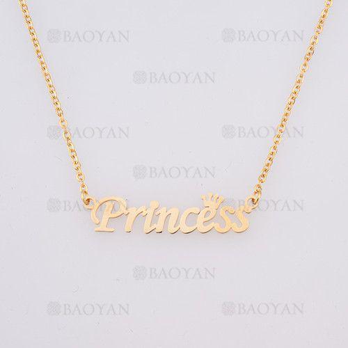 collar con nombre Princess en acero dorado inoxidable - SSNEG384246