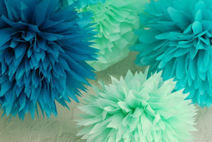 Under the Sea mermaid party poms / tissue paper pom pom decoration / 6 ct/ beach wedding decoration/ under the sea theme / mermaid birthday by LePetitPom on Etsy https://www.etsy.com/listing/200886468/under-the-sea-mermaid-party-poms-tissue