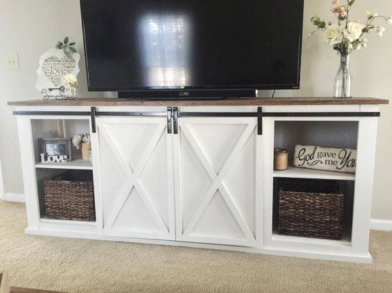 barn door entertainment center console table by woodenitbenicenc home ideas home decor. Black Bedroom Furniture Sets. Home Design Ideas