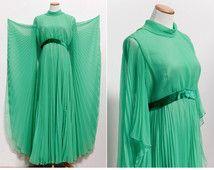 1960's Miss Elliette Chiffon Gown • Sea Foam Green Chiffon Gown • Goddess Dress