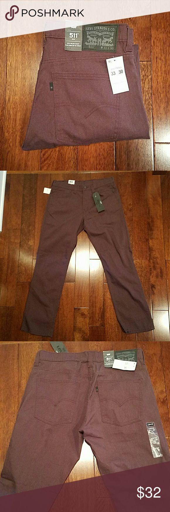 Men's Levi's Jeans 33x30 BRAND NEW WITH TAGS mens levis 33x30, Levi's line 8, 511 jeans, slim fit. Burgundy color. Levi's Jeans Slim