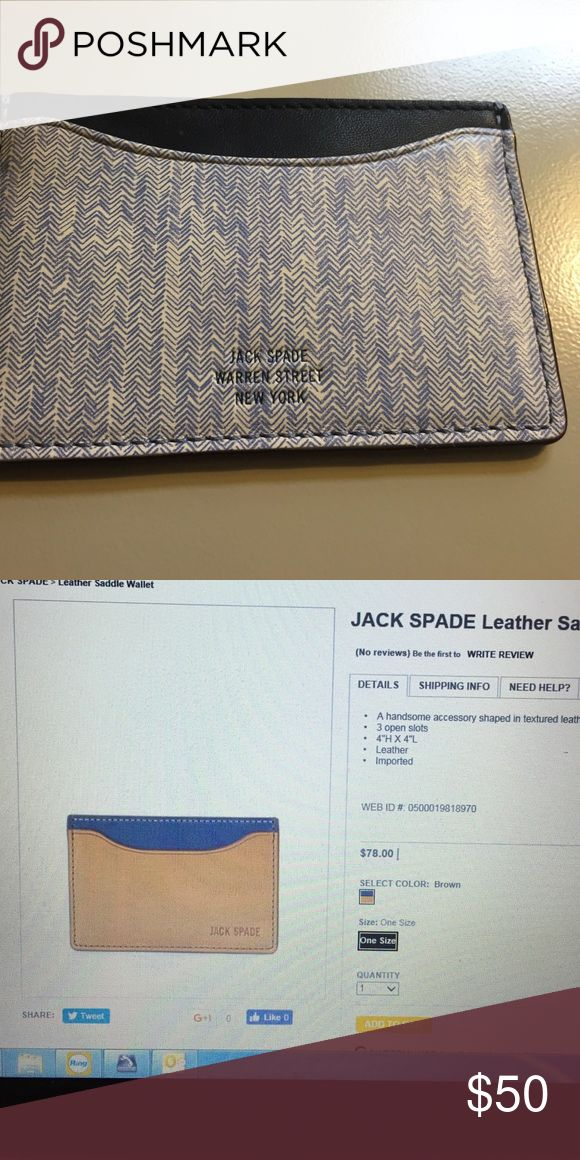 Jack spade credit card wallet Jack spade credit card wallet brand new, this one has a herringbone pattern leather with 3 open slots Jack Spade Bags Wallets