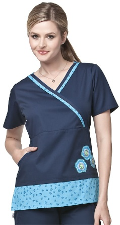 A very flattering navy blue empire waist mock wrap scrub top from ME®!