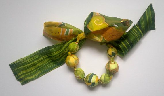 Silk necklace green and yellow hand painted by AijaSilkPainting