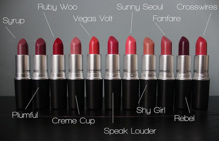 MAC Lipsticks= -Syrup -Creme Cup -Vegas Volt -Speak Louder -Shy Girl -Fanfare -Crosswires