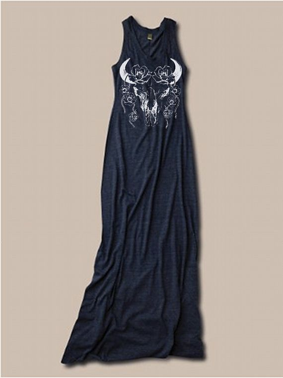 Womens BOHO Desert Rose Bull SKULL  Bohemian Tank Top Dress screenprint maxi beach coverup S M L XL More colors