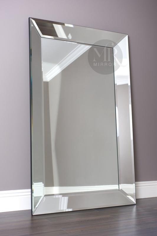 Mirror with mirrored frame the elegance huge leaner for Floor mirror italian baroque rococo style in lacquer finish