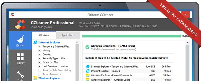 Laptop showing the CCleaner interface - 1 billion downloads Trusted by millions and critically acclaimed. There's a reason why CCleaner is the world's favorite PC optimization tool! Easy to use, one click cleaning so beginners can optimize their computers in seconds and packed with advanced features for power users.